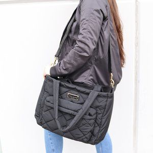 Crosby Quilted Diaper Black Nylon Baby Bag